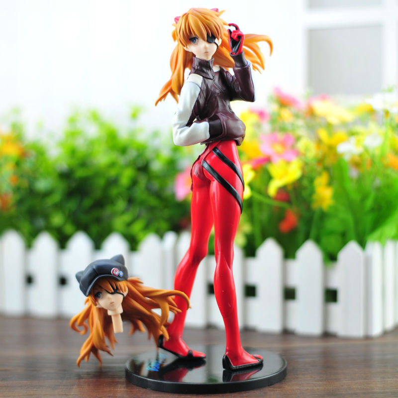 EVA Neon Genesis Evangelion Soryu Asuka Langley PVC Action Figure Collection 2 heads 23CM Free Shipping 26 5cm japanese anime figure neon genesis evangelion asuka langley soryu action figure collectible model toys for boys