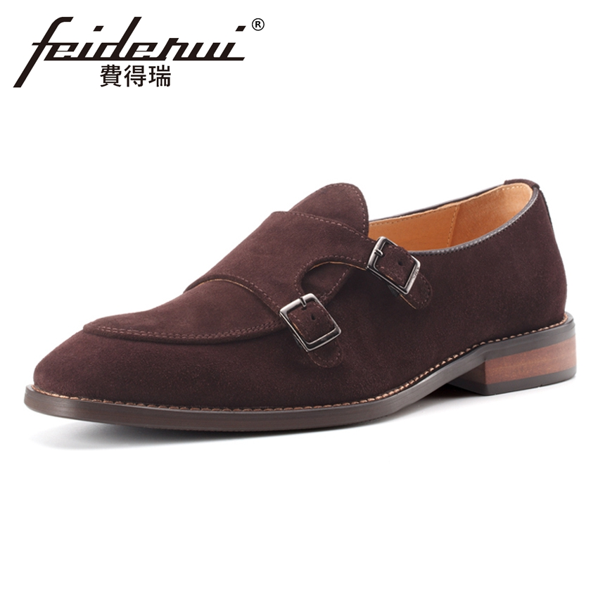 Plus Size Vintage Designer Cow Suede Leather Men's Monk Straps Footwear Round Toe Handmade Man Formal Dress Party Shoes MLT70 недорого