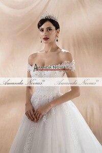 Image 3 - Женское свадебное платье с открытыми плечами, ТРАПЕЦИЕВИДНОЕ ПЛАТЬЕ с лямками, новинка 2020