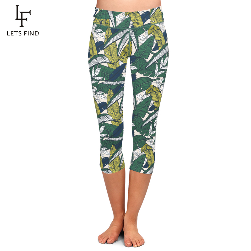 LETSFIND Summer New Design Women Capri Leggings Leaf Printing Mid-Calf 3/4 High Waist Elastic Leggings Plus Size