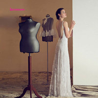 LEIYINXIANG Lace 2019 Wedding Dress Pregnant White/Lvory Backless Simple Bridal Dress Empire New Arrival Formal dress Sweetheart