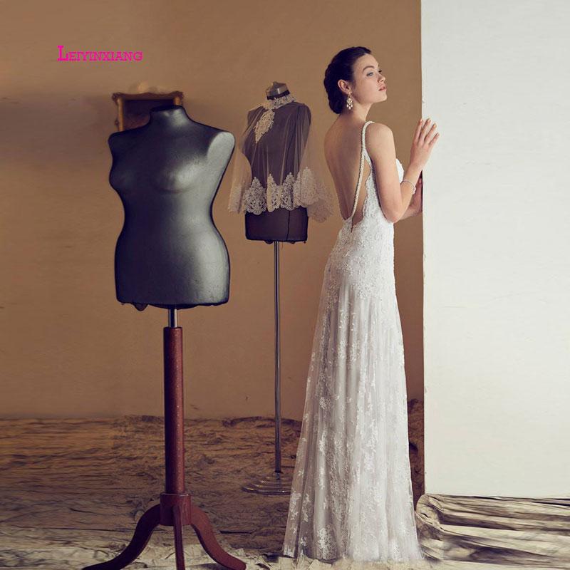 LEIYINXIANG dentelle 2019 robe de mariée enceinte blanc/Lvory dos nu Simple robe de mariée Empire nouveauté robe formelle chérie