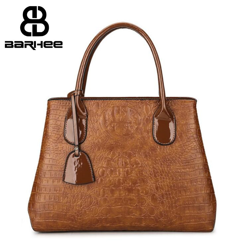 New Retro Crocodile Patent Leather Luxury Design Women Handbag Sac a Main Shoulder Bags Top Quality Ladies Large Tote Bags Solid hongu high grade leather handbags crocodile pattern large ladies hand bags luxury purse with shoulder strap sac a main femme