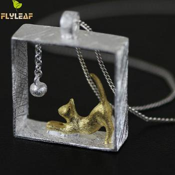 Flyleaf 100% 925 Sterling Silver Cat Necklaces & Pendants for women girl Jewelry Collares 2017 colar