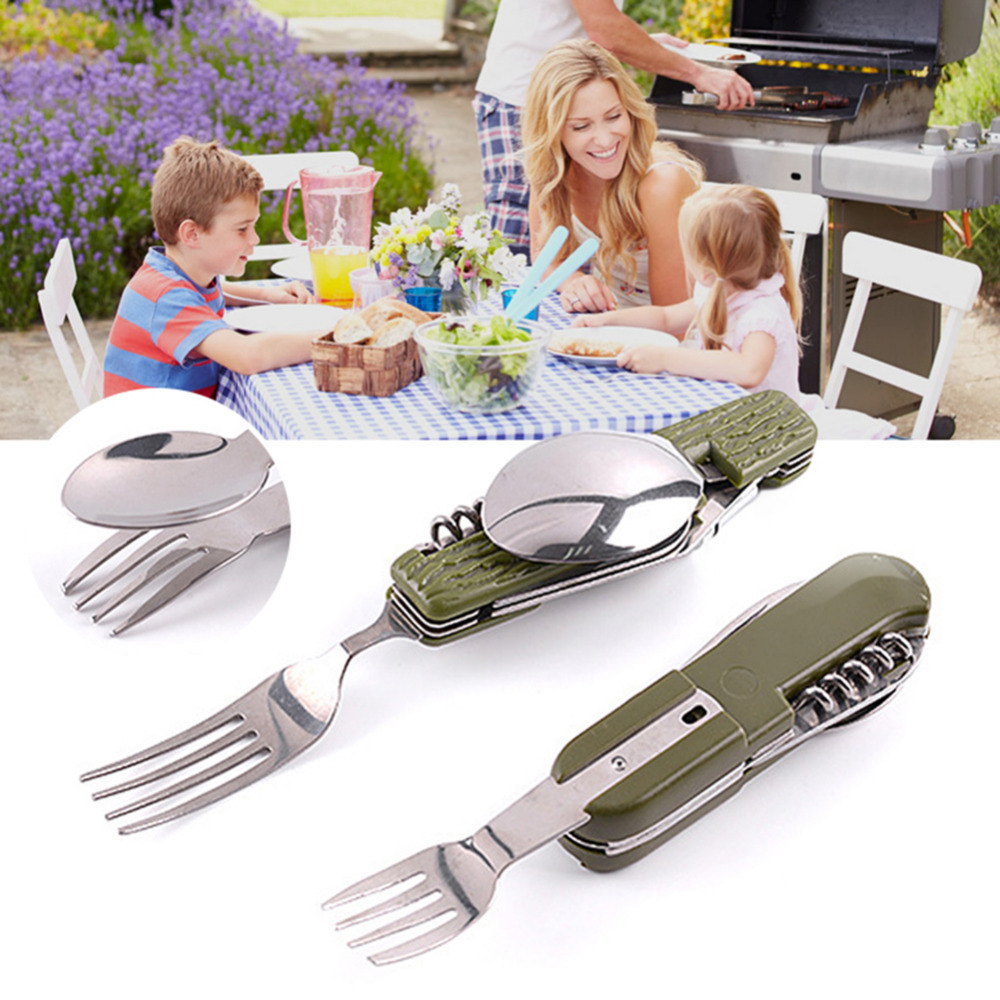 3 in1 Outdoor Camping Picnic Tableware Stainless Steel Folding Fork Spoon Tab、UK