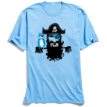 100% Cotton Tshirt Mens Tees Men Owl Print Short Sleeve Hipster Pirate T-Shirt Custom Funny Tops Party Round Collar T Shirt Blue