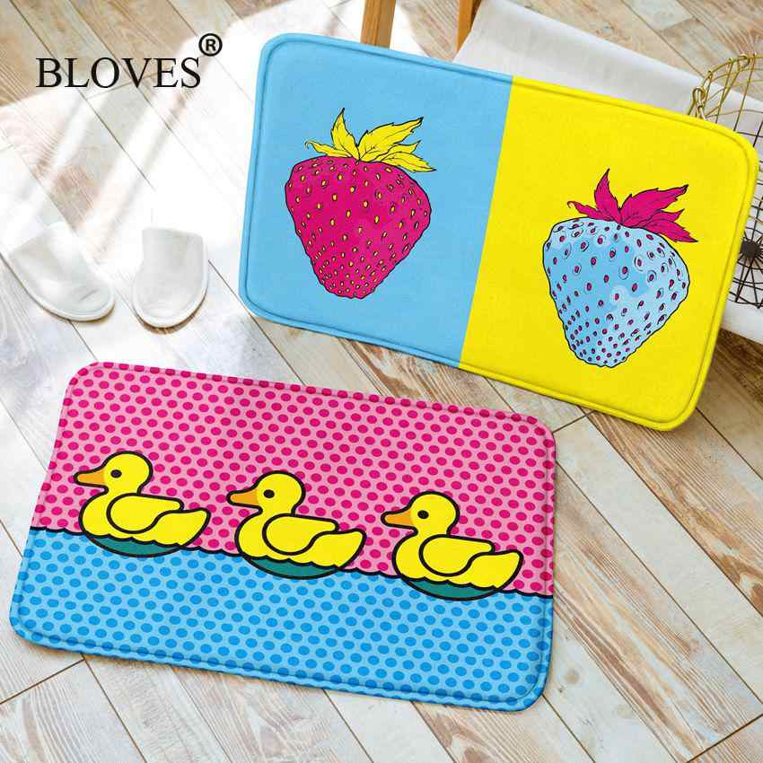 Creative Pop สีน้ำสำหรับพรมห้องน้ำเด็กกำมะหยี่ฝรั่งเศสพรมห้องครัวเสื่อโยคะเสื่อบันได Doormats Alfombras