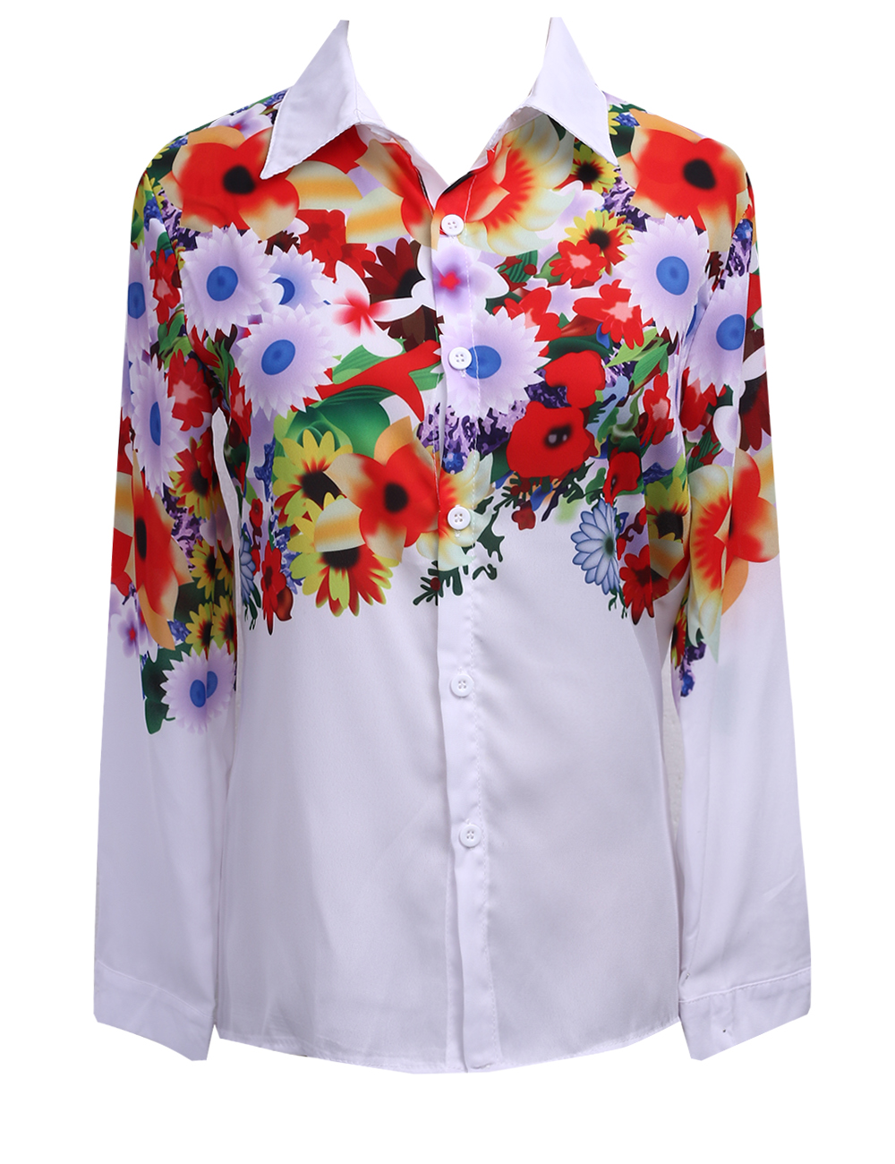 Women's Clothing Aliexpress Spring All-match Explosion White Printing Long Sleeved Blouse Wj166 Vestidos