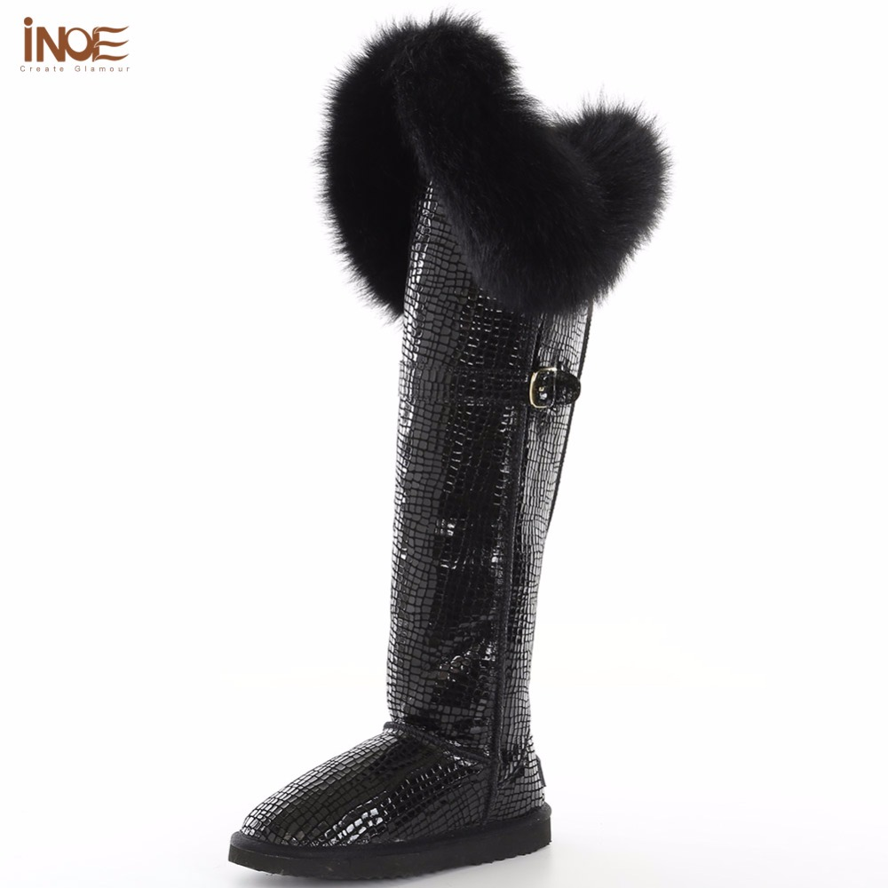 INOE boots women fashion thigh cow split leather fox fur long shoes waterproof warm over the