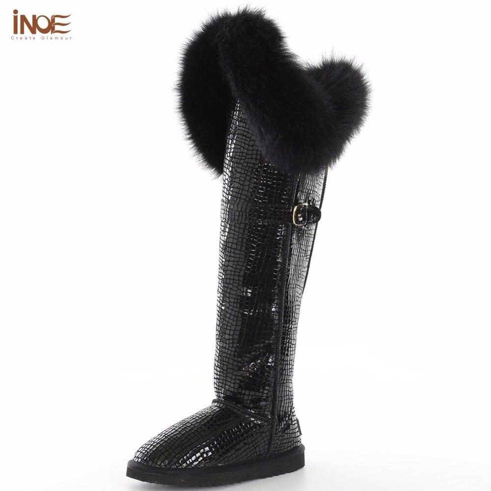 INOE botas mujer moda muslo vaca split cuero piel de zorro zapatos largos impermeables cálido sobre la rodilla nieve botas altas