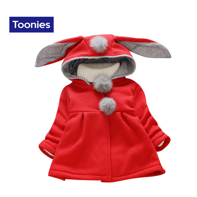 Hot Sale High Quality Girls Coat Children Jackets Cute Rabbit Style Kids Cotton Coats Baby Girl Jacket Winter Warm Outerwear