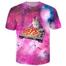 DJ Pizza Cat Tee Galaxy Tees Nebula Space Pizza 3d Print font b T b font
