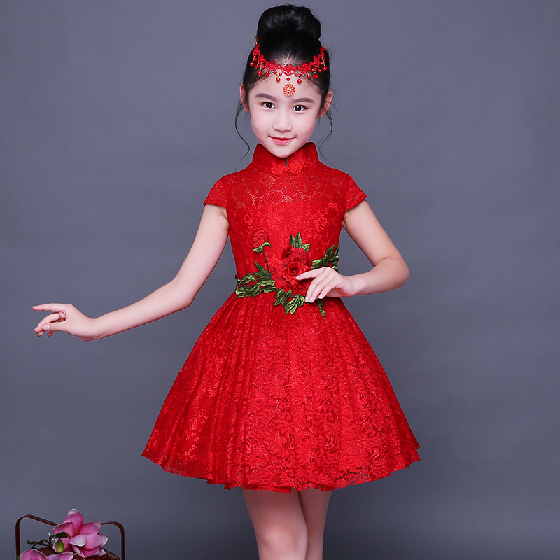 2017 autumn girls lace cheongsam dresses elegant chinese style children's dresses floral printed kids dresses