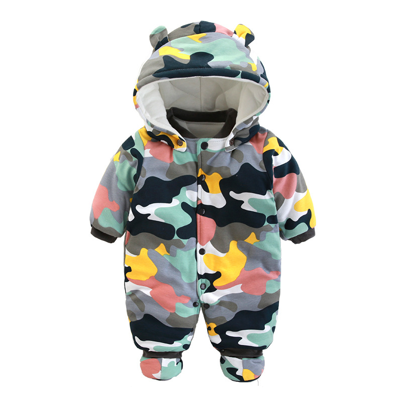 New winter infant cartoon snowman camouflage hooded rompers bady boys girls climbing clothes newborn thick warm overall 17S907