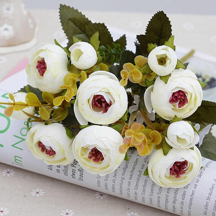 白シルク茶バラ人工花花嫁小さな花束結婚式ホームデコレーション高品質偽花バラのブーケ