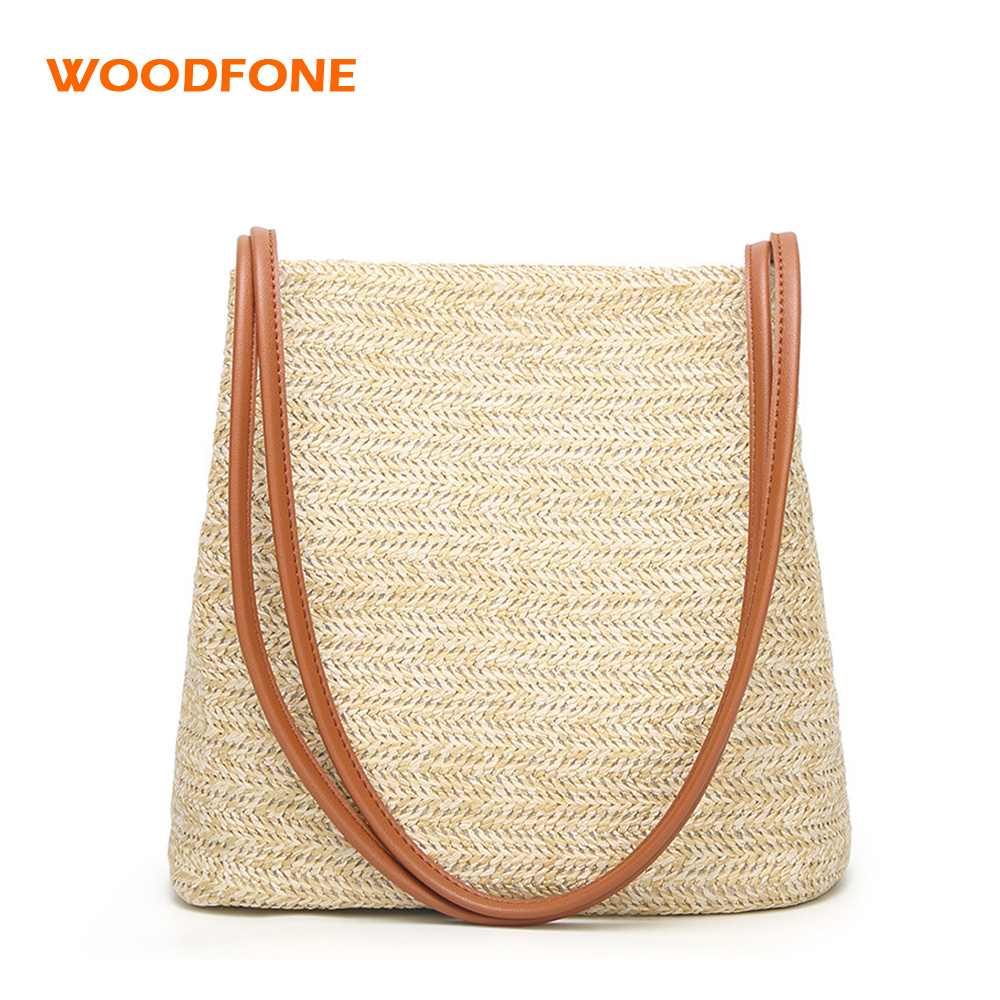 WOODFONE Women Casual Straw Beach Bags for Summer Holiday Luxury Shopping Handbag Female Travel Shoulder Bag Large capacity 2018