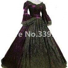 Фиолетовый и черный бархат кружева викторианской бальное платье Ренессанс Carnivale свадебное платье