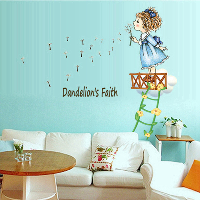 Zs Sticker Dandelion Faith Wall Stickers for Girls Rooms Daycare
