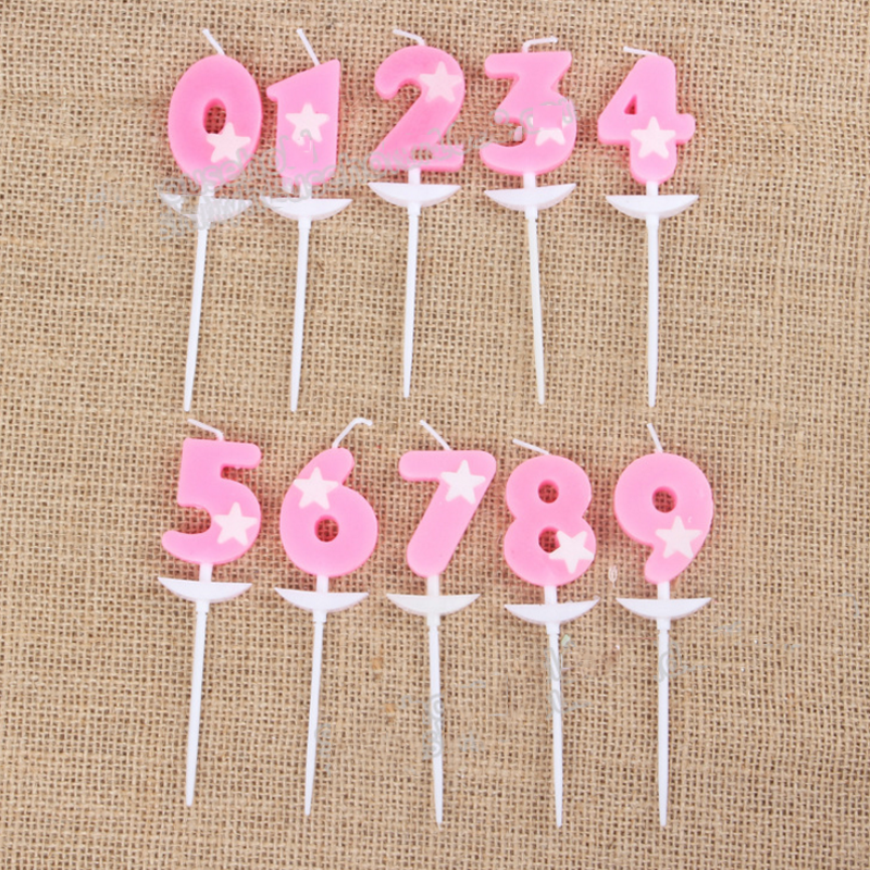 1 pcs cute Children creative romantic opp five-star birthday number candles baby hundred days wedding cake decoration