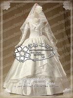 Аниме атака на Титанов Микаса Акерман Косплэй костюм свадебное платье наряд платье + Прихватки для мангала + вуаль