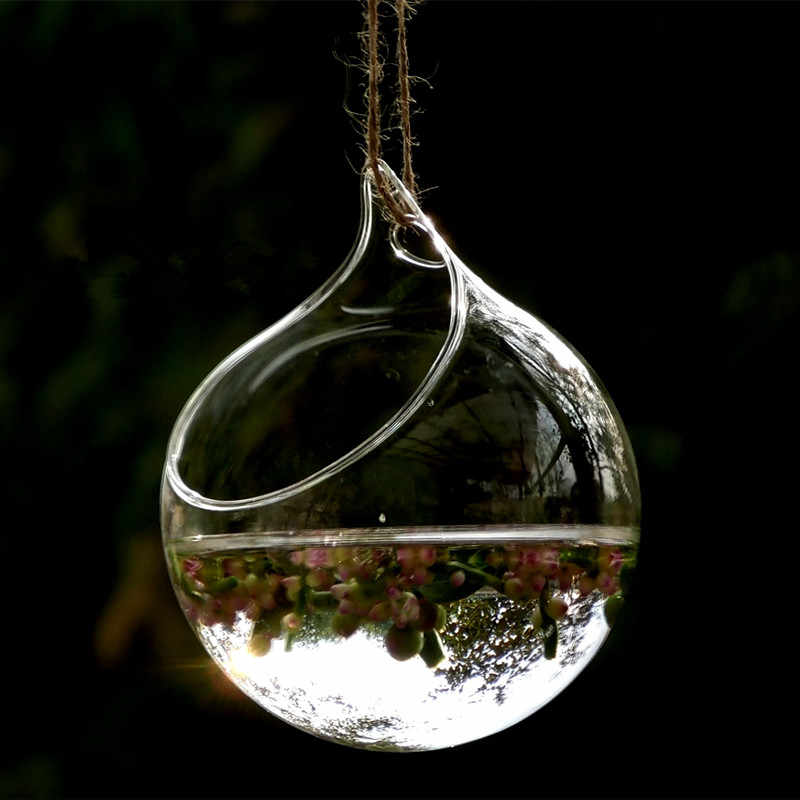 Diameter = 8cm Hanging Glass Terrarium Vase Home Decoration Glass Globe with one big open Wedding Hanging Glass Ball Decorative