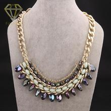 Christmas Gift Star Style Fashion Gold Color with Colorful Resin Statement Bib Choker Necklace Jewelry for Women Party