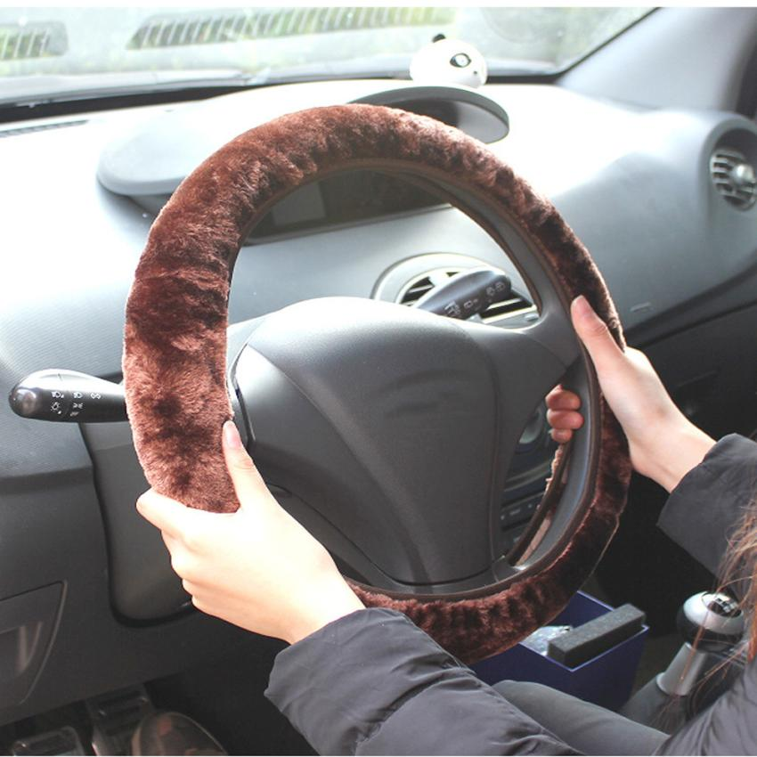Steering Wheel Cover Plush Warm steering wheel Artificial over Woolen Handbrake Car Accessory Auto Dropshipping Sept29