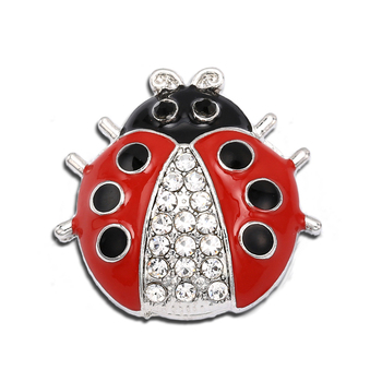 Rhinestone Stone Ladybird Buttons Jewelry Oil Painting Snap Buttons fit 18mm20mm DIY Snap Bracelet Making snap button jewelry