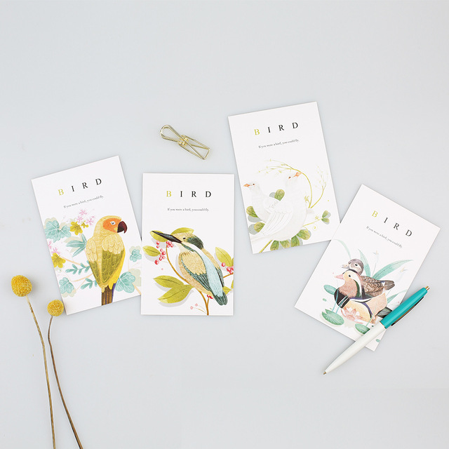 30pcs spring bird sing style card as invitation Greeting Cards postcard as say love secret on birthday Thanksgiving Day
