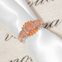 CiNily Orange Fire Opal Orange Garnet Silver Plated Ring Wholesale Wedding Party Gift for Women Jewelry Ring Size 5-12 OJ4576 3