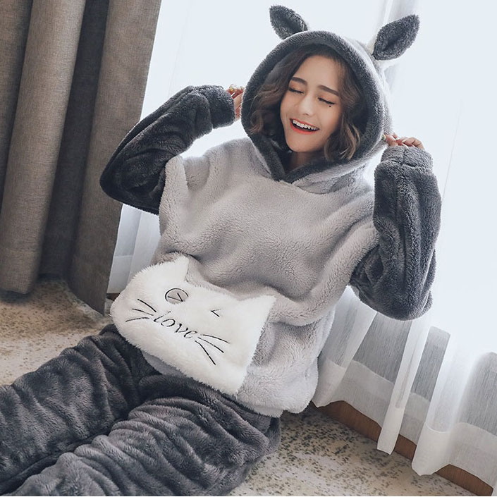 New Autumn Winter Plus size Flannel pajamas Thick Women Sleepwear Female Coral Fleece Cartoon pajama sets Cat Bear with hat