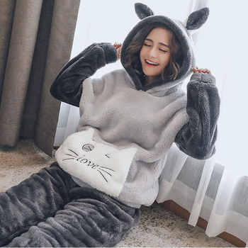 New Autumn Winter Plus size Flannel pajamas Thick Women Sleepwear Female Coral Fleece Cartoon pajama sets Cat Bear with hat - DISCOUNT ITEM  30% OFF All Category