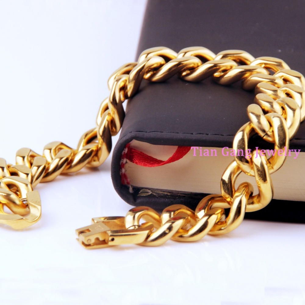 High Quality Silver Gold 316l Stainless Steel Heavy New Polished Mens Cowboy  Chain Bracelet Bangle Wholesale