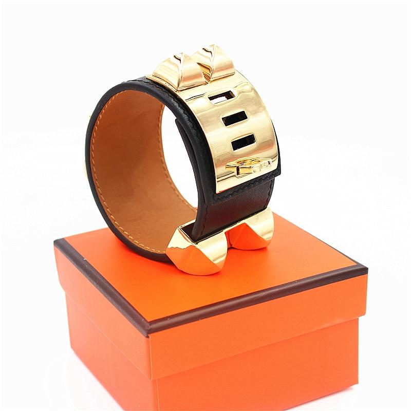 Top Quality H Punk Bracelets Wide Smooth Genuine Leather Bracelets Bangles For Women Men Cuff Bracelet