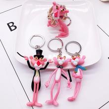 2019 New Popular Keychain Vinyl Doll Gift For Women Pink Panther Cartoon Creative Birthday Key Chain Ring