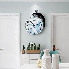 New 3D Cartoon Whale Acrylic Sea Blue Round Wall Clock Modern Design Creative Silent Home Decorative Quartz Clocks Free Shipping
