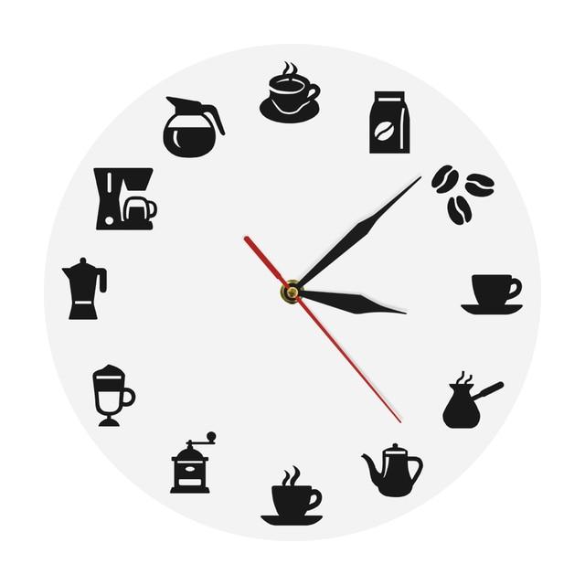 1 pieza café 3D Reloj de pared moderno diseño de arte de la pared ...