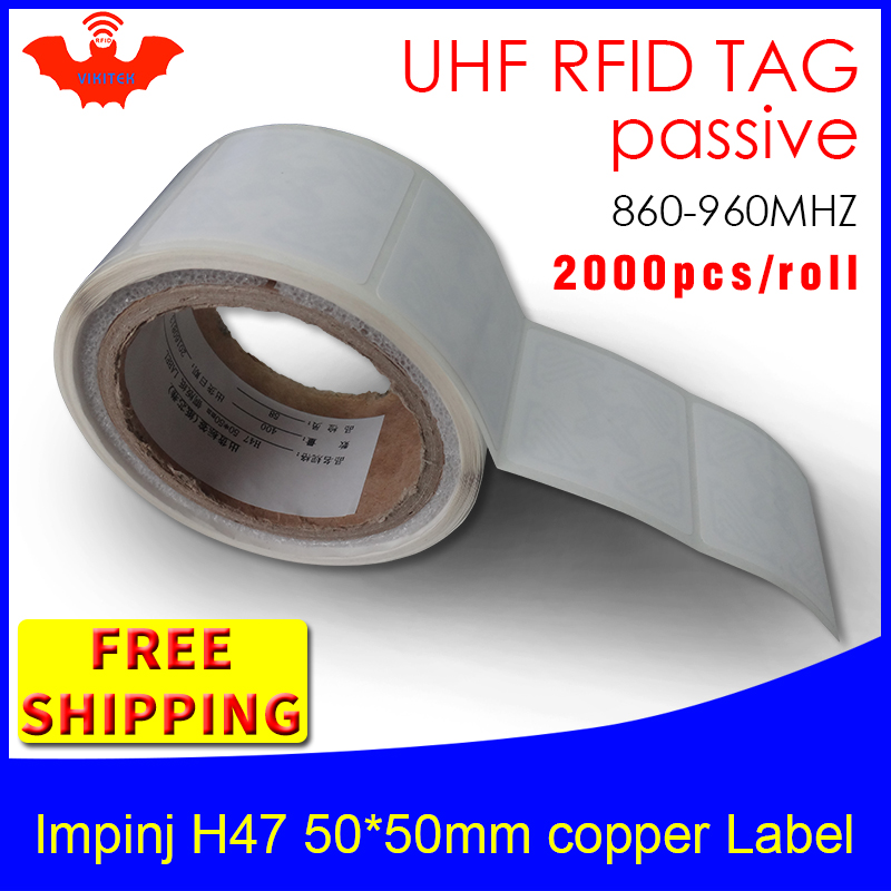 RFID Tag UHF Sticker Impinj H47 EPC 6C Printable Copper Label 2000pcs Free Shipping Adhensive Long Distance Passive RFID Label