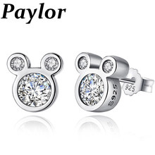 Paylor Hot Sale Silver Color Cute Brand Earrings Dazzling CZ Zircon Mickey Stud Earrings For Women Brincos Jewelry Bijoux(China)