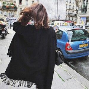Image 5 - Kadın kış kaşmir panço pelerin zarif siyah sıcak atkılar moda Vintage Pashmina uzun şal kadın panço pelerin