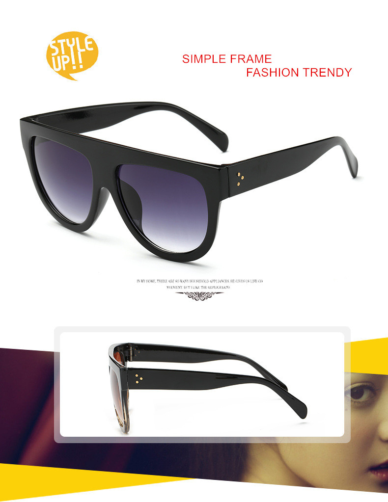 Oversize Retro Flat Top Cat Eye Glasses 3