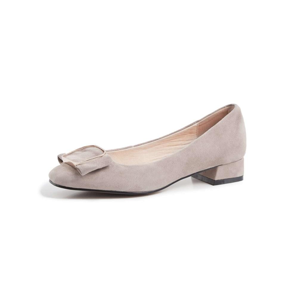 Krazing หม้อหรูหราของแท้หนังส้นสูง slip on classic square toe Hollywood movie star buckle elegant lady รองเท้า l10-ใน รองเท้าส้นสูงสตรี จาก รองเท้า บน   3