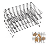 OBRKING Carbon Steel Cooling Cake Racks Oven 3 Layered Nonstick Cooling Racks For Cookies Cakes Baking Rack Icing Rack