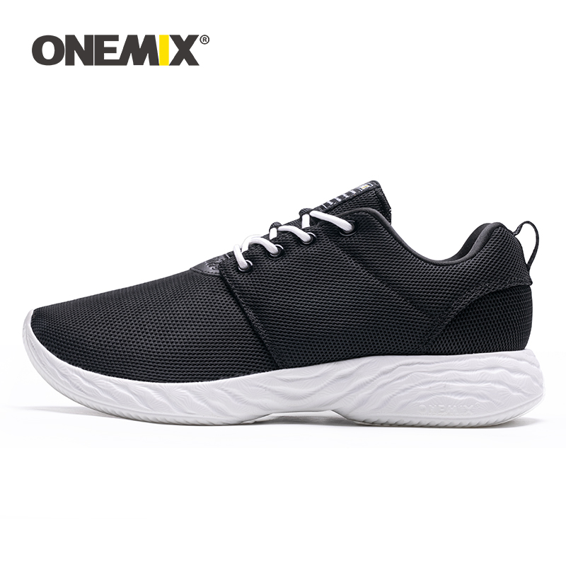 ONEMIX  Women's Air Cushion Sneakers Platform Black Shoes Lightweight  Sports Running Shoes Outdoor Athletic Flats For Walking