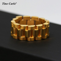 New 24K Gold Plated Rlx Link Ring Hiphop Mens Watchband Style President Big Ring Size 8