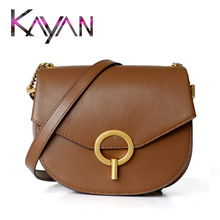 Genuine Leather Ring Buckle Saddle Bag Vintage Cow Leather Women Bag Casual Shoulder Bag Small Crossbody Bag taiwan original vintage authentic high end real cow leather fixed gear bike 3 in 1 set bag grip saddle