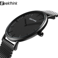 Top Brand Luxury Quartz Watch Casual Men Black Japan Quartz Watch Stainless Steel Mesh Strap Ultra