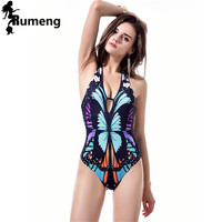 6ea12f0635184 RUMENG One piece Swimwear 2017 push up new Chinese Ink bathing suits  women's sexy Halter Top