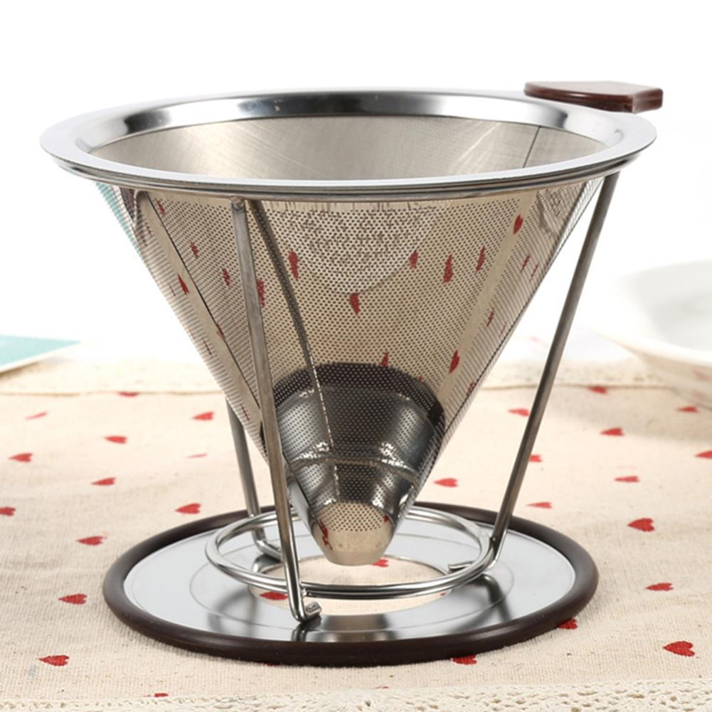 Stainless Steel Cone Coffee Filter Holder Dripper Double Layer Mesh Infuse Cup Coffee Filters Home Drinkwares NEW