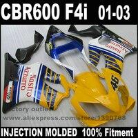 High Quality Fairing Kit For HONDA CBR 600 F4i 2001 2002 2003 Bule Yellow Black Fairings